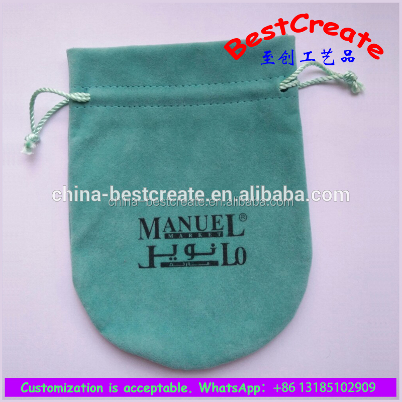 Wholesale mint green cat shape drawstring velvet promotion pouch bags with custom logo printing