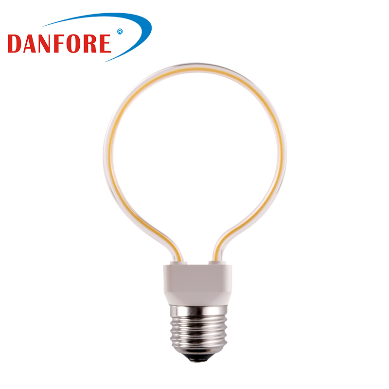 4W clear glass cover dimmable round circle art series flexible filament led bulb