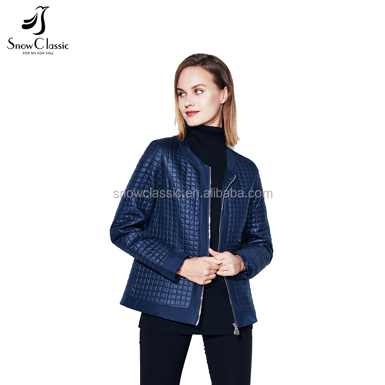2017 Autumn black jacket lattice coat women short thin coats warm solid casual O-Neck warm jackets
