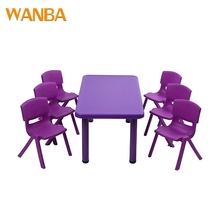 Square Color Design School Children Furniture Plastic Table and Chairs Sets