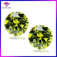11mm round peridot yellow Cubic zirconia synthetic gemstone market prices