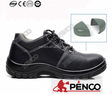 engineering working safe wearing steel toe cow leather fire proof black safety shoes