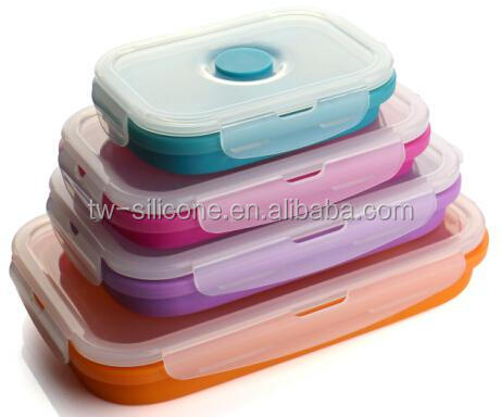 Promotion silicone Kids lunch box collapsible boxes