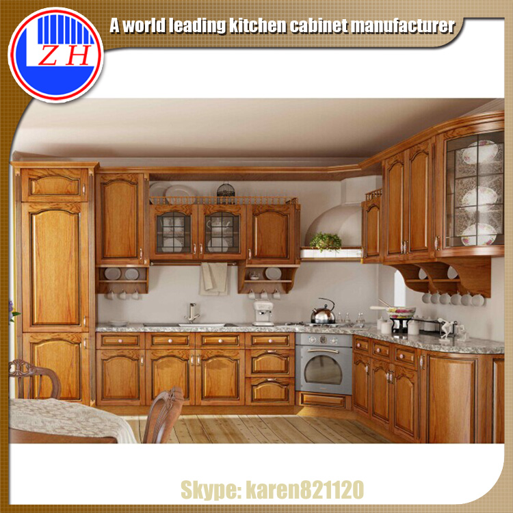 American modern solid wood kitchen cabinets fitted kitchen for Fitted kitchen designs