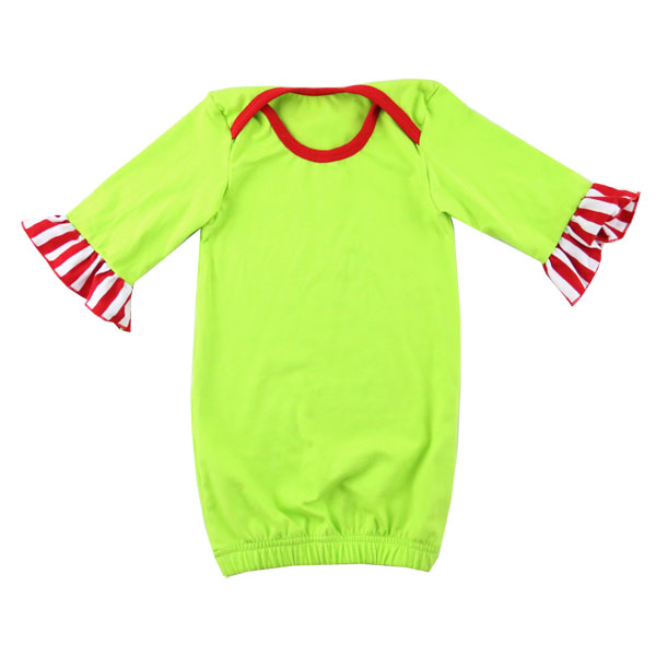 Lovely boutique green 3/4 sleeve red strp ruffle romper organic onesie pajamas baby child christmas baby romper