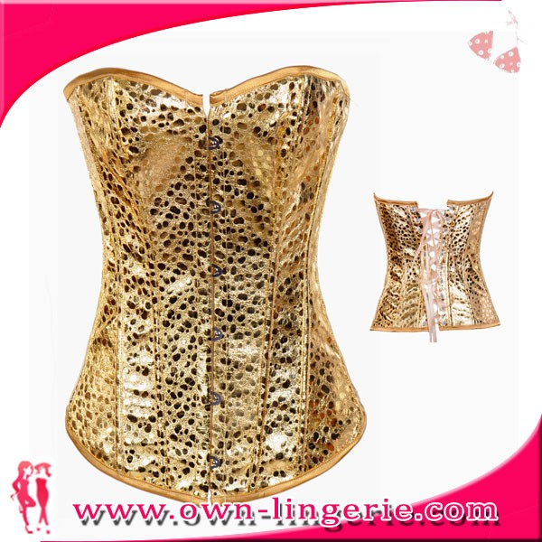 Wholesale sequin gold overbust xxxl sexy leather corset