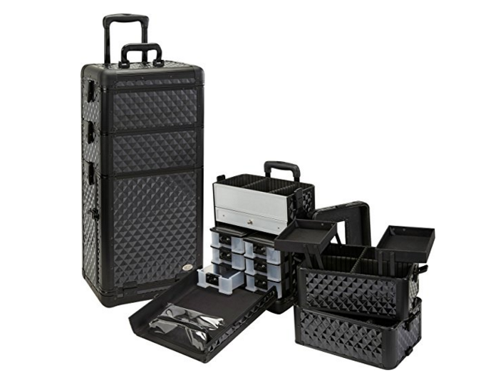 Custom-made Professional 3 in 1 Rolling Makeup Case Artist Cosmetics Rolling Case (Custom Color Diamond)