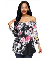 Sexy Women's Sexy Off Shoulder Tops Long Sleeve Blouse Casual Shirt Floral Loose Tops