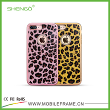 Fashion Style Glitter Leather Leopard Patterns Luxury Mobile Phone Cover Soft TPU Mobile Vanity Case for iPhone 6 Plus