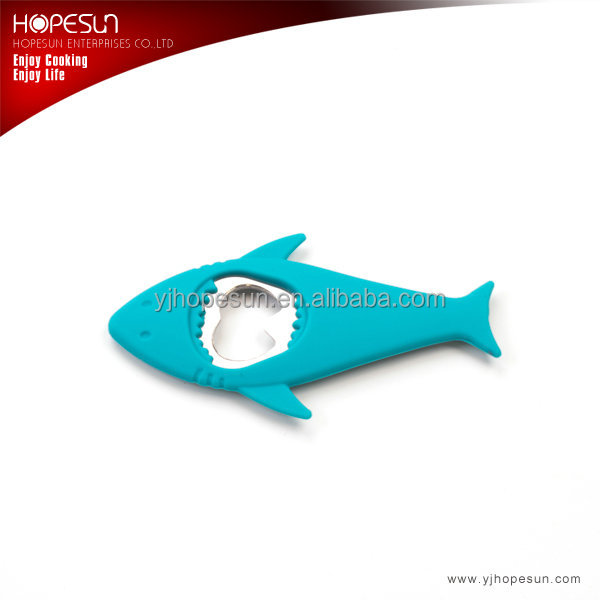 Popular new design funny shark shaped metal bottle opener