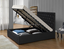 Modern solid wood gas lift bed for bedroom