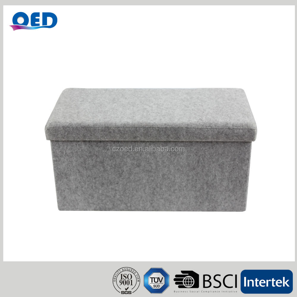 OED Polyester Foldable Storage Ottoman Bench 76*38*38cm Grey T33