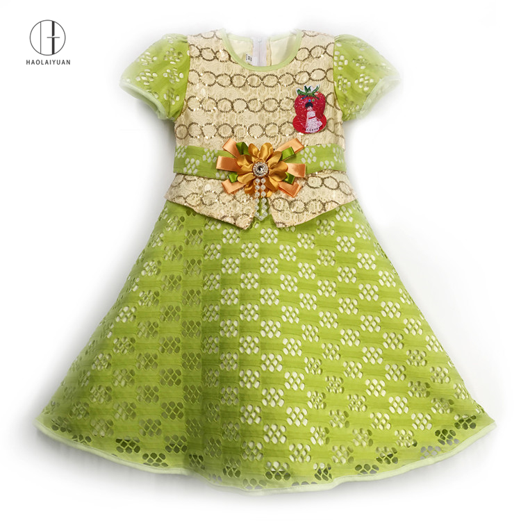 893-Green Yiwu Haolaiyuan Fashion Beautiful african clothing children kids costumes girls model dresses