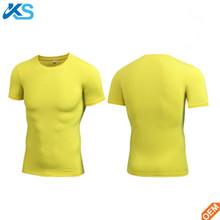 Fashion Compression Gym Fitness Dry Fit 100%Polyester Men's T-shirts Pure Color