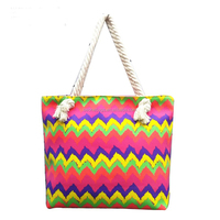 2016 Shenzhen Colorful Chevron Tote Beach Bag with Strong Rope Handle