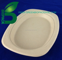 Compostable tableware, bamboo pulp tray, biodegradable food serving trays