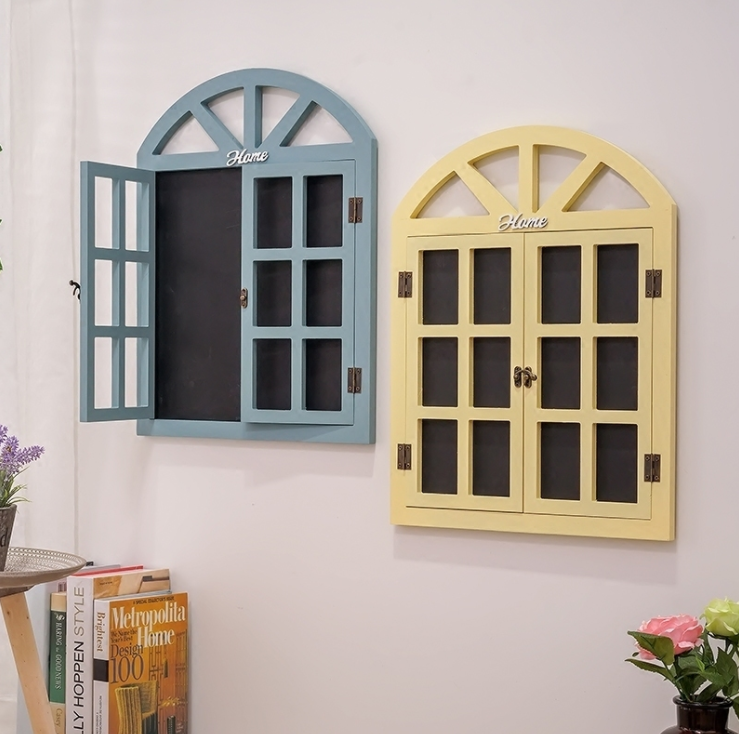 European Retro Window Shape Bar Wall Decor Blackboard Message Wooden Hanging Home Decoration