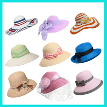 Customized classic beach wide brim hat Natural paper floppy straw hat with black ribbon trim