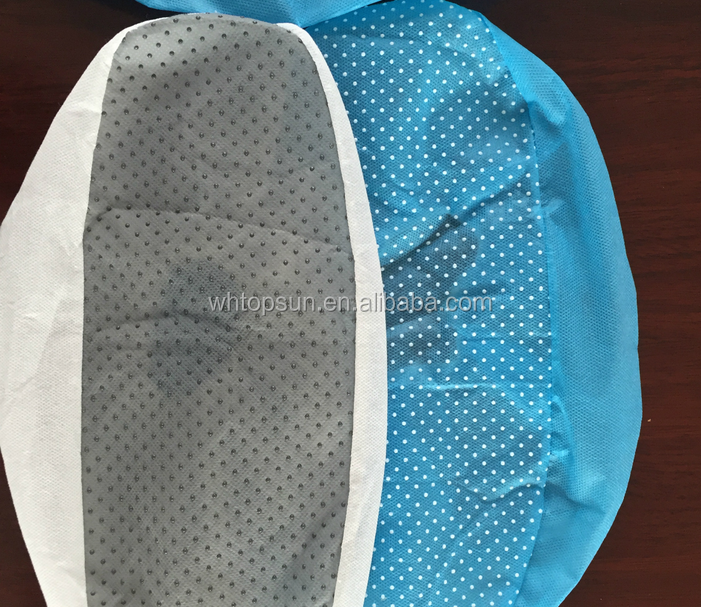 Nonwoven disposable antiskid shoe cover