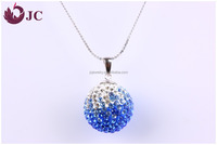 Color Combine CZ Crystal Paved Bead Crystal Essential Oil Small Ball Pendant Necklace Wholesale