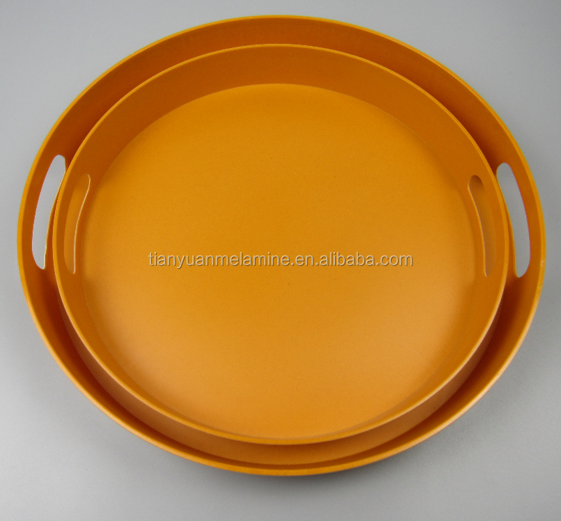 Colorful Round Shape Custom Bamboo Fiber Food Tray Printed Dinner Plates