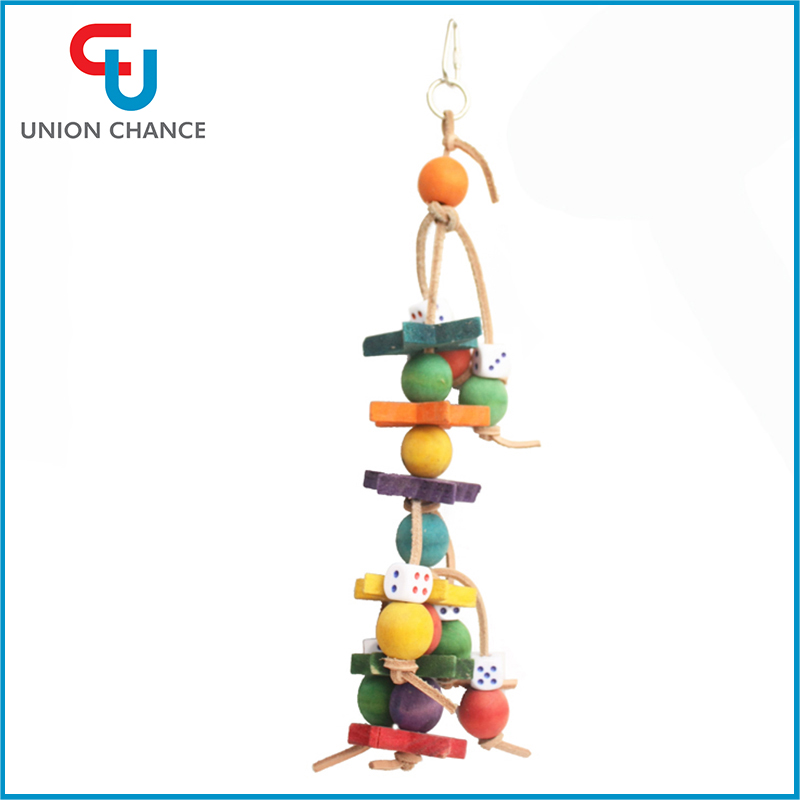 Wood Bird Toys Colorful Wood Jewellery Parrot Toys Wood Hanging Toys For Bird