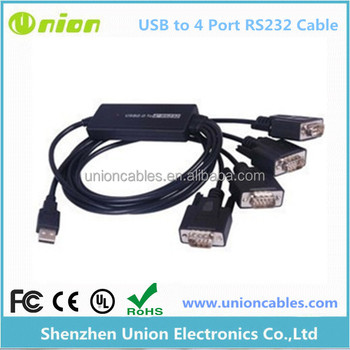 USB 2.O to 4 ports RS232 Cable
