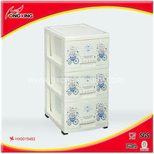 Plastic 3-tier office drawer unit with wheel