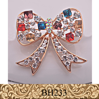 Fancylove Jewelry colorful crystal bow sweet nice cute brooch ladies scarf clips