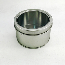Wholesale Metal Round Christmas Candle Tin Watch Tin Can Gift Tin Candle Jar Packing Box With PVC Clear Window/Lid