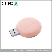 OEM factory price natural round wooden usb flash driver for promotional gift