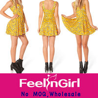 yellow animal printed model two wear skate summer dresses 2013