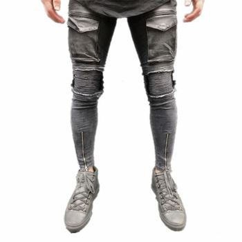 Wholesale street fashion ripped wash stretch denim pants skinny jeans with pocket