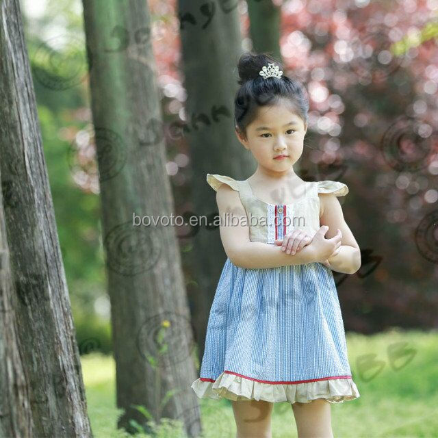 BOVOTO wholesale boutique baby girls blue backless stripe dress