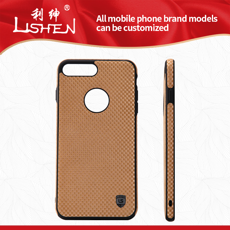 Premium thin golden decorative pattern cover real leather phone case for iphone 6/7