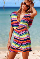 European style women's rainbow striped stretch ice silk beach dress bathing suit blouse