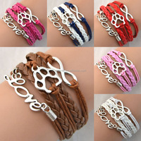 Free Shipping Love Infinity Footprint Braided Leather Bracelet Clasps Fashion Jewelry