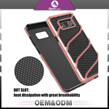 Latest 2 in 1 shockproof hard hybrid pc tpu carbon fiber mobile phone cover case for samsung galaxy s8 plus