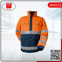 high visibility workwear quilted men winter jacket