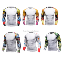 Cody Lundin Mens Compression Tight Tattoo Sleeve Shirts Base Layers Skinny T Shirts Male Sport Workout Fitness Training Gym Wear