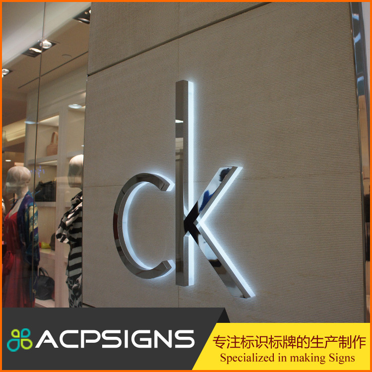 New arrival! back lit customized car logo mirror polishing stainless steel metal alphabet letter led channel letter