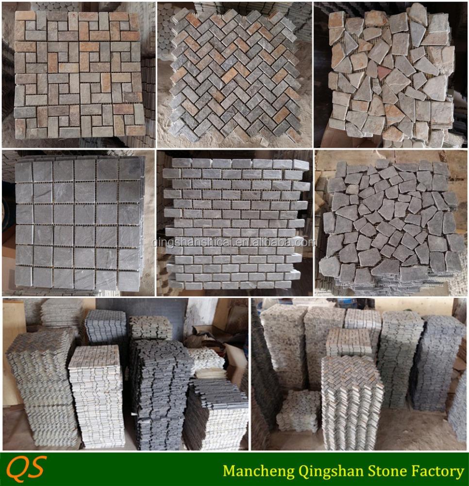 Random strip glass mosaic tile decorative wall stone
