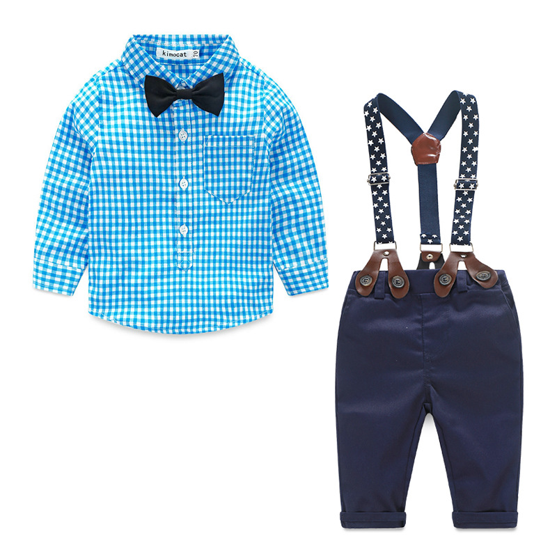 YF7083Hottest!baby boutique clothing cotton plaid boys clothing sets