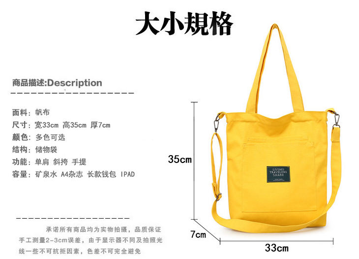 High Quality Recyclable Canvas Tote Bag With Zipper Pocket