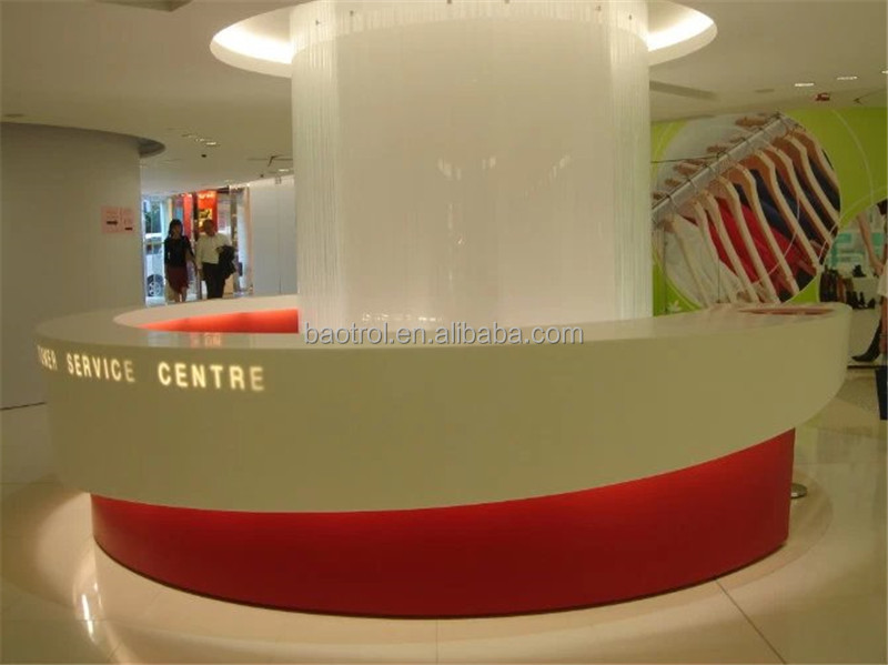 Best quality solid surface food service counter optical shop counter design customer service counter