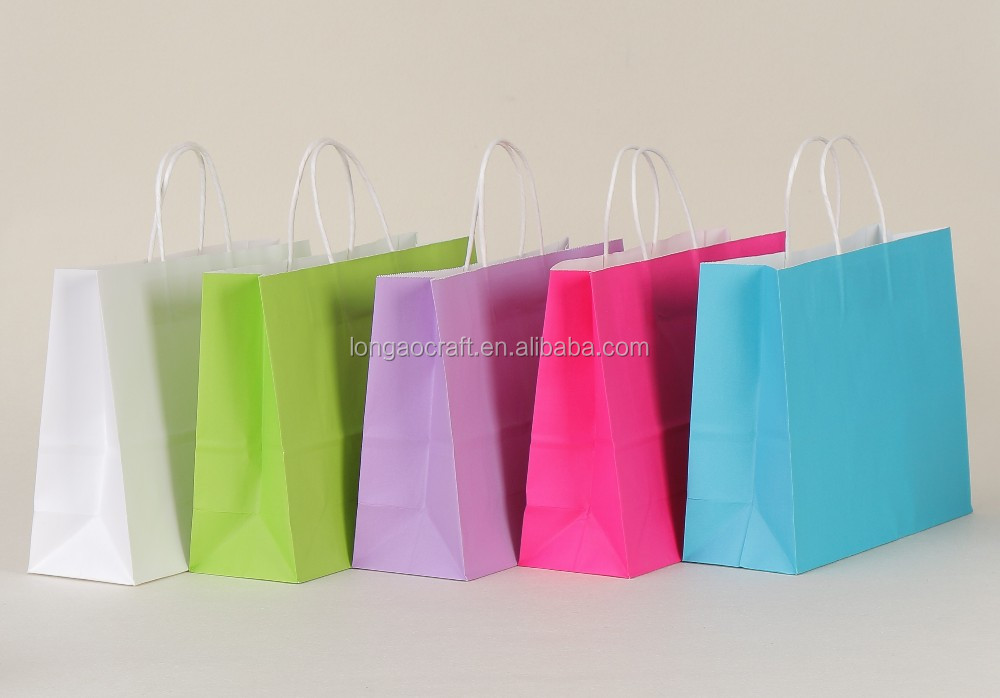 (China suppliers)Large pure color shopping paper bag with white Kraft paper/Accept custom logo