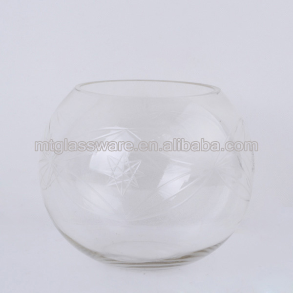 hand blown round glass vase ,fish glass vases with star decorative