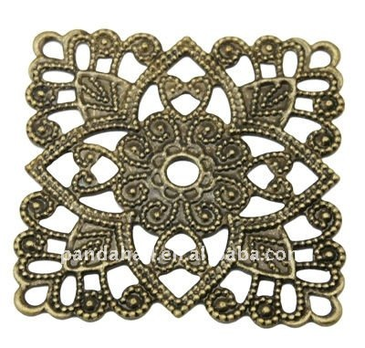 Brass Vintage Filigree Findings, Computer Beaded Patch, Antique Bronze Color, about 31x31x1mm, hole: 3mm(KKC-Q007-AB)