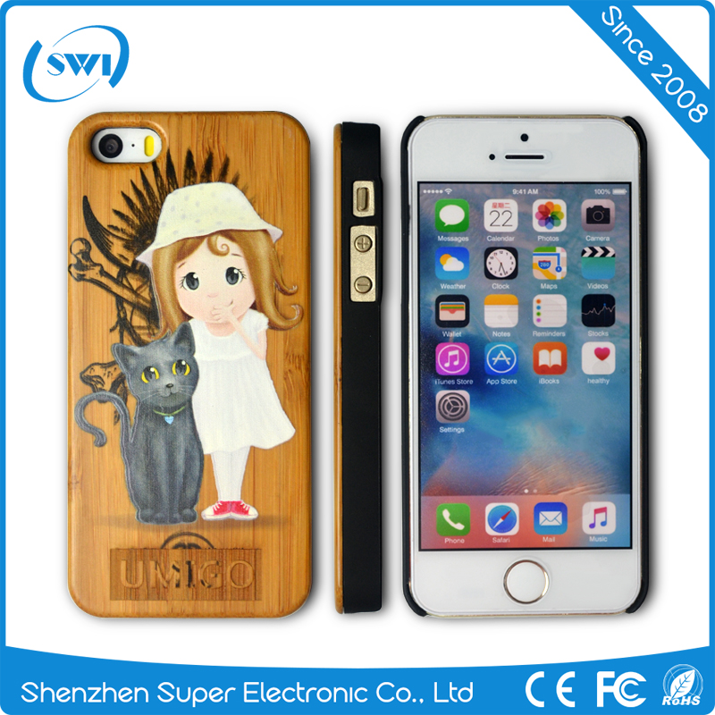 3D Engraved Wooden PC Back Cover Case For iphone 5