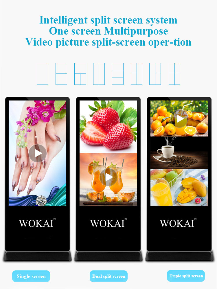 65 75inch intel software outdoor floor stand up indoor lcd touch screen digital board player led display screens for advertising